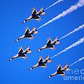 Thunderbirds Jet Team Flying Fast by Debra Thompson