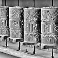 Tibetan Prayer Wheels - Black And White by Kim Bemis