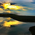 Tidal Pond Sunset New Zealand by Amanda Stadther