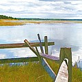 Tide And Fence Oil by Barbara McDevitt
