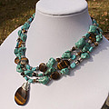 Tiger Eye And Turquoise Triple Strand Necklace 3640 by Teresa Mucha