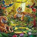 Tiger Family In The Jungle by Jan Patrik Krasny