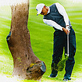 Tiger Woods Hits A Shot From The Rough by Don Kuing