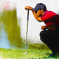 Tiger Woods Lines Up A Putt On The 18th Green by Don Kuing
