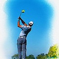 Tiger Woods Plays His Tee Shot On The 15th Hole by Don Kuing