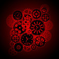 Time Clock Gears Clipart On Red Background by Jit Lim
