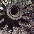 Time Worn Antique Wagon Wheel by Kathy Clark