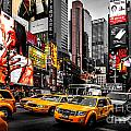 Times Square Taxis by Az Jackson