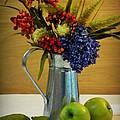 Tin Bouquet And Green Apples by Deborah  Crew-Johnson