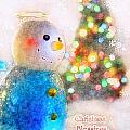 Tiny Snowman Christmas Card by Debbie Portwood