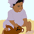 Toddler And Teddy by Pharris Art