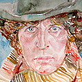 Tom Baker Doctor Who Watercolor Portrait by Fabrizio Cassetta