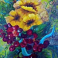 Too Delicate For Words - Yellow Flowers And Red Grapes by Eloise Schneider