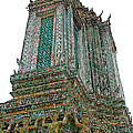 Top Of Temple Of The Dawn-wat Arun In Bangkok-thailand by Ruth Hager