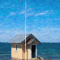 Torekov Beach Hut Painting by Antony McAulay