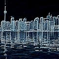 Toronto Skyline In Blue by Valentino Visentini