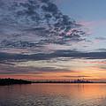 Toronto Skyline In Pastel Blue Pink Yellow Orange And Purple by Georgia Mizuleva