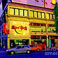 Toronto Street Scene Night Scapes Hard Rock Cafe Downtown Drive By City Lights Canadian Art Cspandau by Carole Spandau
