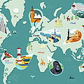 Tourist Attractions On World Map by Kerry Hyndman