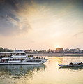 Tourist Boat On Sunset Cruise In Phnom Penh Cambodia River by Jacek Malipan