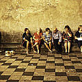 Tourists On Bench - Taormina - Sicily by Madeline Ellis