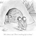 Tow Cavemen Walk Out Of A Cave With Drawings by Tom Toro