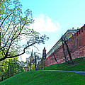 Tower And Wall From Park Outside Kremlin In Moscow-russia by Ruth Hager