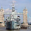 Tower Bridge And Battleship 5863 by Jack Schultz