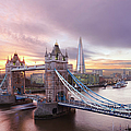 Tower Bridge And The Shard At Sunset by Laurie Noble