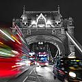 Tower Bridge And Traffic Color Mix by Travel and Destinations - By Mike Clegg