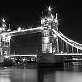Tower Bridge By Night - Black And White by Melanie Viola