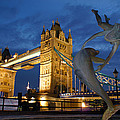 Tower Bridge The Dolphin And The Girl by Andy Beattie Photography