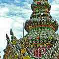 Tower Closeup Of Buddhist Temple At Grand Palace Of Thailand  by Ruth Hager