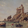 Tower Of Erchia, Gulf Of Salerno, 1849 Oil On Canvas by Edward William Cooke