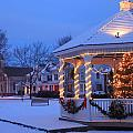 Town Common Holiday Scene Brookfield Massachusetts by John Burk