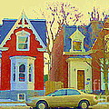 Town Houses In Winter Suburban Side Street South West Montreal City Scene Pointe St Charles Cspandau by Carole Spandau
