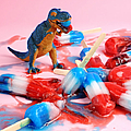 Toy Dinosaur With Red White And Blue by Juj Winn