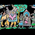 Traditional Indian Ancient Wedding Procession  Emboss Painting by Bhavana Menon