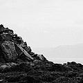 Traditional Irish Stone Cairn Basalt Stones On Rathlin Island Looking Towards Fair Head Antrim  by Joe Fox