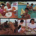 Traditional Pacific Handicrafts Postage Stamp Print by Andy Prendy
