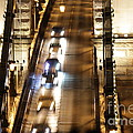 Traffic- Chain Bridge Budapest At Night by Mahsa Watercolor Artist