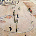 Traffic Island On Boulevard Haussmann by Gustave Caillebotte