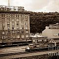 Train Passes Station Square Pittsburgh Antique Look by Amy Cicconi