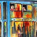 Tramway Travellers In Prague by Miki De Goodaboom
