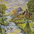 Tranquil Log Cabin by Linda Brody