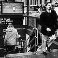 Travellers Exiting And Entering 34th Street Entrance To Penn Station Subway New York City by Joe Fox