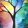 Original Art Abstract Art Acrylic Painting Tree Of Light By Sally Trace Fine Art by Sally Trace