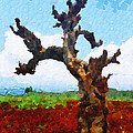 Tree On Red Land Painting by George Fedin and Magomed Magomedagaev
