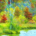 Trees In Spring On A Lake by Susanna Katherine