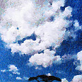 Trees Under Blue Cloudy Sky Painting by George Fedin and Magomed Magomedagaev